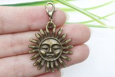 Own Charm ~-  29mm Bronze Sun Charms, Antique Bronze Sun Pendant, Charms for Jewlery Making, Antique Bronze Charm Pendant