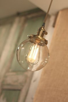 "Pendant Light With 6"" Glass Globe Shade and Exposed Socket"