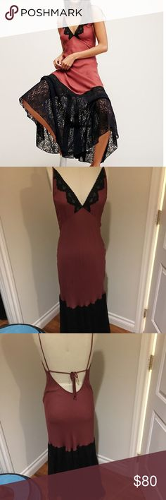 Free People Belissima Slip Size S Sexy maxi slip by Intimately by Free People. Size S. Bias cut so hugs your curves. Fabric is super soft brick red, closest to the first internet photo. Open back. Spaghetti straps that can be tied at any length in the back. Red with black lace accents. Used but great condition. Fabric is thin so definitely need some nude underwear underneath. Loooove this but I never wear it :( Free People Dresses Maxi