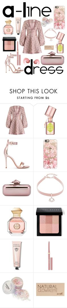 """""""A-Line Dress"""" by mandimwpink ❤ liked on Polyvore featuring Zimmermann, Benefit, Gianvito Rossi, Casetify, Jimmy Choo, Design Lab, Tory Burch, Bobbi Brown Cosmetics, Stila and Barry M"""