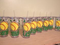 Quantity 11 Personalized acrylic tumbler w/ lid and straw - Volleyball, basketball, baseball, any sport, Clear or Black cup Softball Team Gifts, Softball Party, Softball Crafts, Tennis Party, Softball Coach, Tennis Gifts, Girls Softball, Fastpitch Softball, Baseball Mom