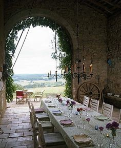 Come see photos of beautiful French Country decor within these Provence-inspired interiors in France and outside of France. Get lovely decorating ideas and glimpses of rustic elegance, effortless undone charm, and simple sophistication. Outdoor Rooms, Outdoor Dining, Outdoor Decor, Indoor Outdoor, Rustic Outdoor, Yoga Retreat, Home Photo, Outdoor Entertaining, Porches