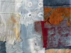 Shelley Rhodes | Textile Study Group Corrugated Series 6: screen printed fabric, dyed fabric, found metal, pins, stitch