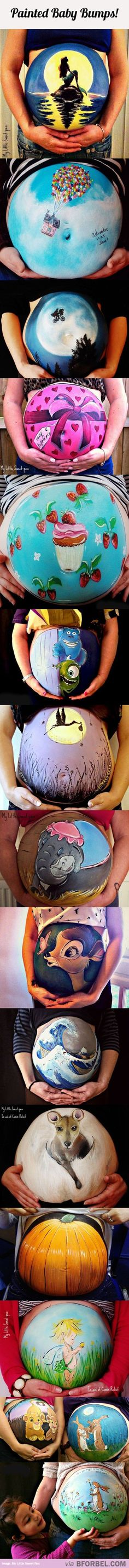 16 Painted Baby Bumps… I love this idea!!