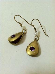 Vintage Locket Earrings Purple Rhinestone Teardrop by DoubleDmentia