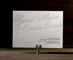 Glamorous colors and stylish airs make Florian Script a vision of posh letterpress wedding invitations.