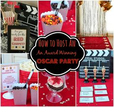 Food ideas, decorations, and games perfect for throwing an awesome Oscar party from playpartyplan.com #party #Oscars #games