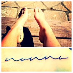 """Foot tattoo. """"nonno"""" ~ grandpa in Italian:) Chose a font that can also be read as """"nonna"""" so it can be grandma, too:)"""