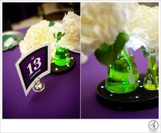 @mikaellabridal Real Bride Erica's science #weddingtheme. Cool idea for #centerpieces/ #tabledecoration