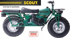 With the same engine and driveline system as the Trail-Breaker, the Scout delivers the power and torque Rokons are known for with a basic, rugged design. Motorcycle Camping, Camping Gear, Vintage Bikes, Vintage Motorcycles, Gas Powered Bicycle, Used Bikes, Motor Scooters, Expedition Vehicle, Mini Bike