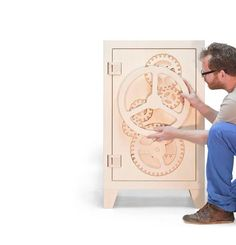 """Meet Mr. Knox - A clever cabinet and funny translation of an iconic steel safe into a smart and playful wooden piece of furniture, delivered with a 99.9% pure oak """"gold bar."""""""