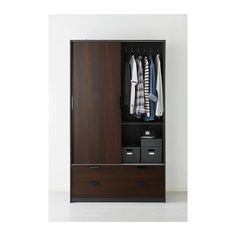 IKEA - TRYSIL, Wardrobe w sliding drawers, , Sliding doors allow more room for furniture because they don't take any space to open.Smooth running drawers with pull-out stop.If you want to organize inside you can complement with SKUBB box, set of Fitted Bedroom Furniture, Fitted Bedrooms, Ikea Bedroom, Closet Bedroom, Ikea Wardrobe, Ikea Closet, Ikea Trysil, Interior Glazed Doors, Doors