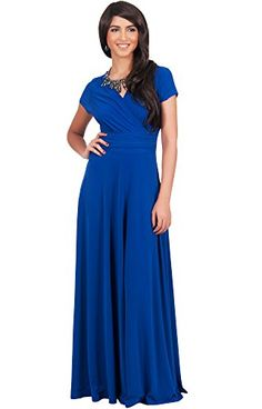 40aeb3fe11 KOH KOH Womens Long Sexy Cap Short Sleeve V-neck Flowy Cocktail Gown Maxi  Dress at Amazon Women s Clothing store