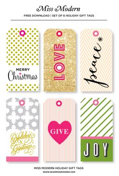 Free Gift Tag Download on the Miss Modern Blog. #freedownload #printable #gift