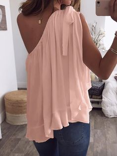 Shop One Shoulder Tied Ruffles Hem Loose Blouse right now, get great deals at Divasruby One Shoulder Shirt, One Shoulder Tops, Suits For Women, Clothes For Women, Fashion Themes, Ruffle Shirt, Fashion Over 40, Latest Dress, Simple Dresses