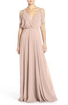 Jenny Yoo 'Cassie' Flutter Sleeve Chiffon A-Line Gown available at #Nordstrom