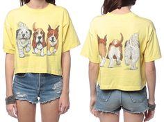 80s Dog Tshirt Cropped Shirt Yellow Ironic Animal by ShopExile, $32.00