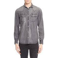Trim Fit Denim Western Shirt