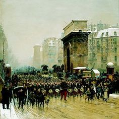 The Passing Regiment, 1875 by Jean Baptiste Edouard Detaille (GL) - Cranston Fine Arts Aviation, Military and Naval Art Edouard Detaille, Oil On Canvas, Canvas Prints, French Army, Reproduction, Military Art, Art Drawings Sketches, Poster Size Prints, Dolores Park