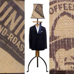 The Standard Lamp Valet in oak with a coffee sack lampshade. Hessian Crafts, Coffee Sacks, Floor Standing Lamps, Coffee Crafts, Dressing Area, Standard Lamps, Mixed Media Artists, Lamp Light, Suit