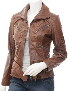 Womens Leather Jacket in Tan: Ardmore at Cainefashion.co.uk