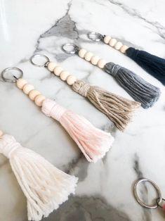 Crochet Keychain, Diy Keychain, Diy Leather Tassel Keychain, Handmade Keychains, Diy Yarn Keychains, Wood Bead Garland, Beaded Garland, Garlands, Diy Craft Projects