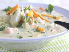 Delicious fish soup with norwegian salmon and cod Fish Soup, Good Food, Yummy Food, Moussaka, Fish And Seafood, Soups And Stews, Cheeseburger Chowder, Meal Planning, Meals