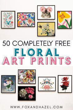 Free Printable Art, Printable Designs, Free Printables, Floral Wall Art, Floral Prints, Flower Sketches, Floral Printables, Free Art Prints, Diy Wall Art