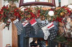 handmade stockings black and white