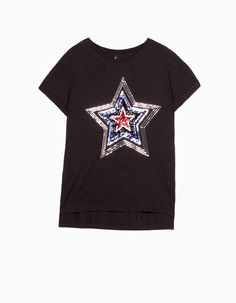 At Stradivarius you'll find 1 Sequinned top for woman for just € . Outfits, Mary Kay, Mens Tops, T Shirt, Craft, Fashion, Rocker Chick, Sequins, T Shirts