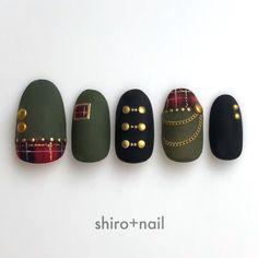 Autumn / Winter / Live / Hand / Check-Nail design of SHIRO + Nail book – Beauty & Seem Beautiful Manicure Nail Designs, Nail Manicure, Nail Art Designs, Luv Nails, Bling Nails, Holiday Nails, Christmas Nails, Gel Nail Art, Acrylic Nails