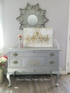 I finished this chest in a custom color request from my unfinished inventory album. I love the rustic elegance of this one. Dresser Table, Grey Dresser, Rustic Elegance, End Tables, Home Furniture, Upcycle, Shabby, Vanity, It Is Finished