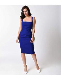 Glamour Bunny 1950s Royal Blue Rachel Stretch Cotton Wiggle Dress
