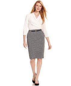 Houndstooth-Print Pencil Skirt  - Macy's