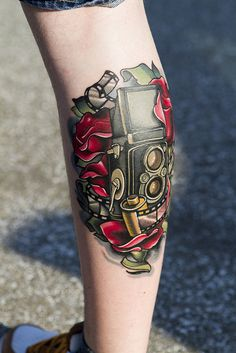 Rolleiflex Tattoo    Done by Timmy B at Black 13 in Nashville TN.  >>> Needs to be a Leica and black and grey