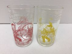 2 Welch's Juice Glass 1953 Howdy Doody Vintage Kagran Clarabelle Seal #Welchs