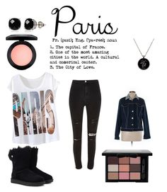 """""""i 💜 paris"""" by mayamaya269 ❤ liked on Polyvore featuring River Island, UGG, Belk & Co. and MAC Cosmetics"""