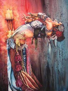 Another water colour painting of Rachel Brice I found online. Rachel Brice is an incredible Tribal Belly Dancer. Rachel Brice, Tribal Fusion, Fusion Art, Estilo Tribal, Bd Art, Belly Dancing Classes, Tribal Belly Dance, Gypsy Life, Gypsy Soul