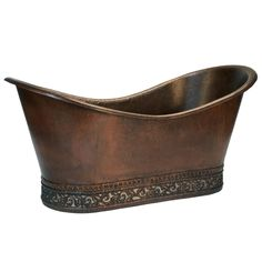 Premier Copper Products 67-inch Hammered Copper Double Slipper Bathtub with Scroll Base and Nickel Inlay