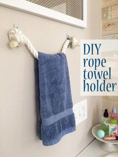 I'm here today to share how you can make a towel holder with rope – a DIY project I did as part of my kids' bathroom redesign. I hope to share the complete room redesign post soon but I… bathroom ideas DIY rope towel holder Beach Theme Bathroom, Nautical Bathrooms, Beach Bathrooms, Diy Bathroom Decor, Bathroom Fixtures, Bathroom Wall, Bathroom Storage, Bathroom Layout, Decorating Bathrooms