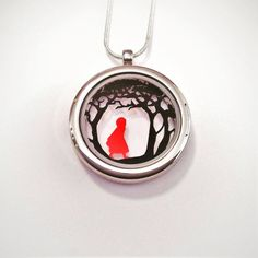 Red Riding Hood Papercut Pendant by Studio Charley, the perfect gift for Explore more unique gifts in our curated marketplace. Floating Lockets, White Gift Boxes, Red Riding Hood, Uk Shop, Little Red, Plaque, Paper Cutting, Book Art, Fairy Tales