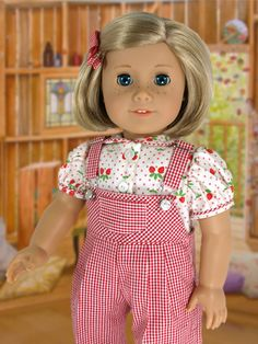 """Adorable American Girl 18"""" Doll Red gingham overall's. Inspiration."""