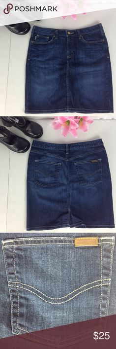 Carhartt Denim Skirt Size 10 Work Wear Back Slit This skirt is in excellent pre-owned condition with no flaws minus some discoloration on gold accents. Waist is 16.5 inches across Hips are 19.25 inches across Waist is 19.5 inches Carhartt Skirts Mini
