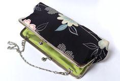 Metal frame handbag  Navy blue floral kimono by cheekyleopard