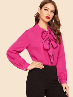 107 Best Bow Tie Blouse Images Feminine Fashion Fashion Women