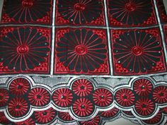 Red and Black Swiss Voile African Lace Fabric 5 by tambocollection