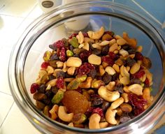Make your own gourmet trail mix with cashews,pistachios,cranberries,apricots and dark chocolate chips to give as gifts or set out for holiday visitors.