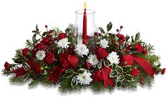 christmas floral centerpieces with candles | Canada Flowers presents Teleflora's Happy Holidays Centerpiece