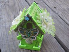 Lime Green Birdhouse Pen and Pencil Holder patent by ItseeBitsee, $20.00