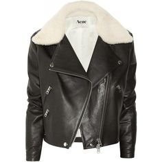 Acne Rita leather and shearling aviator jacket (10 145 SEK) ❤ liked on Polyvore featuring outerwear, jackets, coats & jackets, coats, pocket jacket, real leather jacket, zipper jacket, collar jacket and zip jacket